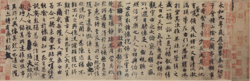 Main text of a Tang Dynasty copy of Wang Xizhi's Lantingji Xu by Feng Chengsu (馮承素). Throughout Chinese history, many copies were made of the Lantingji Xu, which described the beauty of the landscape around the Orchid Pavilion and the get-together of Wang Xizhi and his friends. The original is lost, however some believed that it was buried in the mausoleum of Emperor Taizong of Tang. This Tang copy made between 627-650 is considered the best of the copies that has survived. Located in the Palace Museum in Beijing.