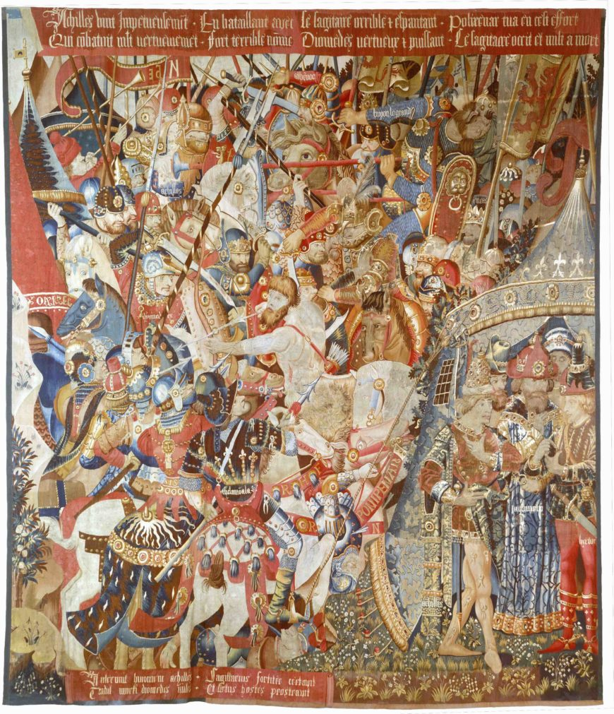 The Battle with the Sagittary and the Conference at Achilles' Tent (from Scenes from the Story of the Trojan War), c. 1470–90, Wool warp, wool wefts with a few silk wefts, 436.9 × 396.2 cm, probably produced through Jean or Pasquier Grenier, Made in Tournai, South Netherlands (The Metropolitan Museum of Art)