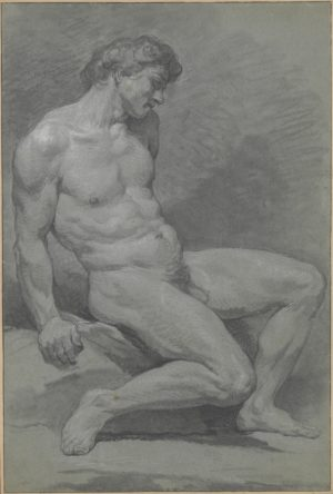 Nicolas Bernard Lépicié (1735-1784), Seated Male Nude Facing Right, mid-18th century. Charcoal, stumped, black chalk heightened with white on gray-green paper. 50.7 x 34cms. The Metropolitan Museum of Art,