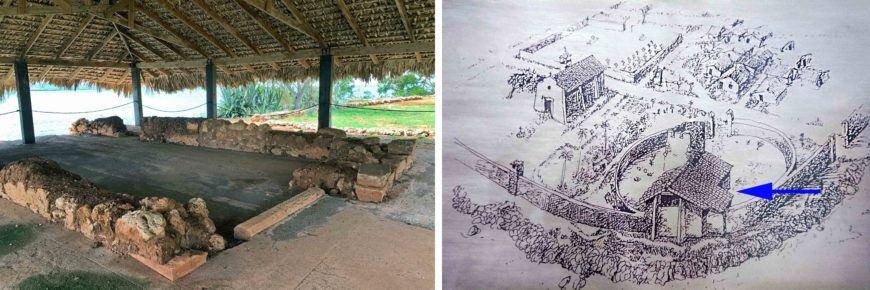 House of Columbus, La Isabela, Dominican Republic, 1494–98 (photo: Mario Roberto Durán Ortiz); right: reconstruction drawing of La Isabela, with the House of Columbus indicated with an arrow (photo: Mario Roberto Durán Ortiz)