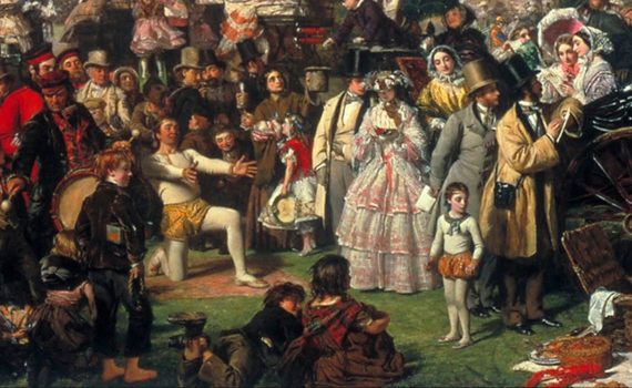 Center (detail), William Powell Frith, The Derby Day, detail of the scene around the thimble rigger, 1856–8, oil on canvas, 101.6 × 223.5 cm (Tate Britain)
