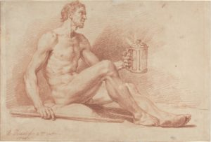 Bernard Picart, Male Nude with a Lamp (Diogenes), 1724. Red chalk on laid paper, 30.9 x 45.7 cm (National Gallery of Art)