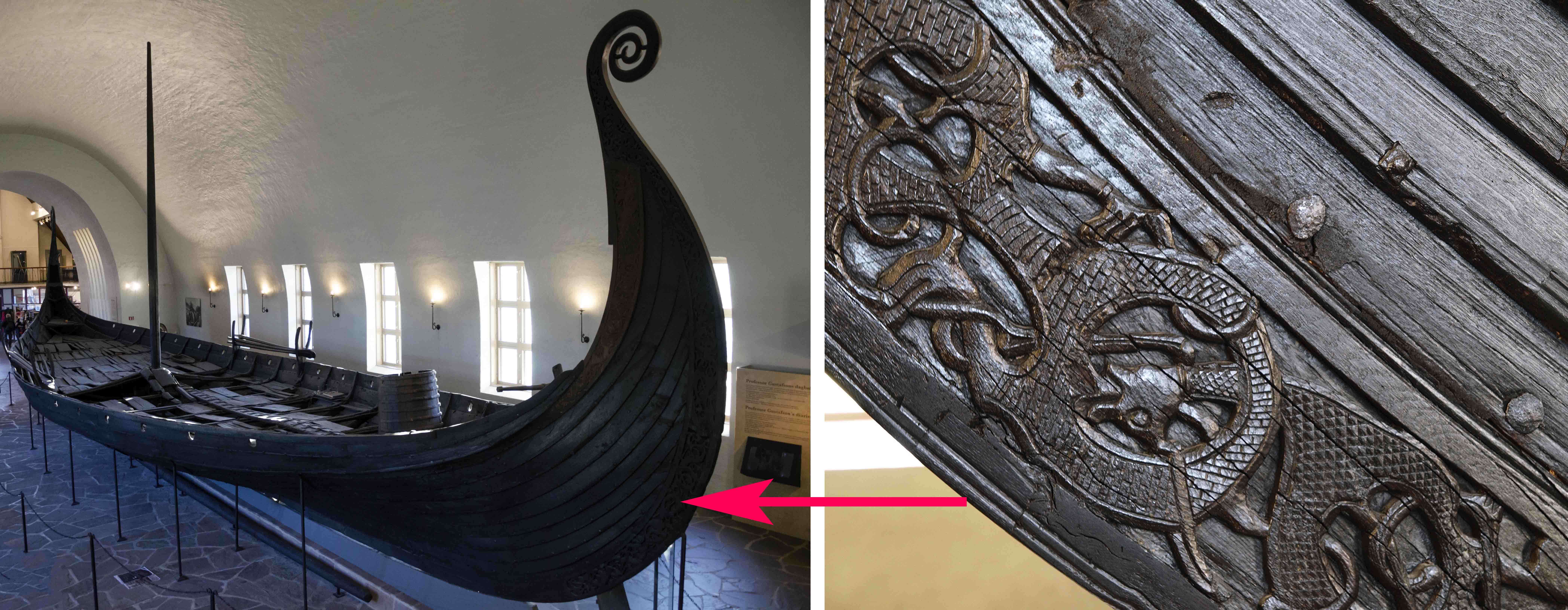 Oseberg ship and detail of prow