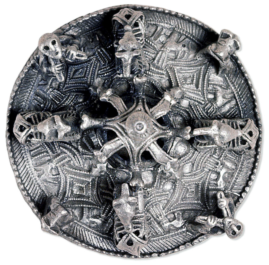 Silver disc brooch, Borre style, late 9th–10th century, silver, 7.8 cm in diameter, found in Gotland, Sweden (© The Trustees of the British Museum)