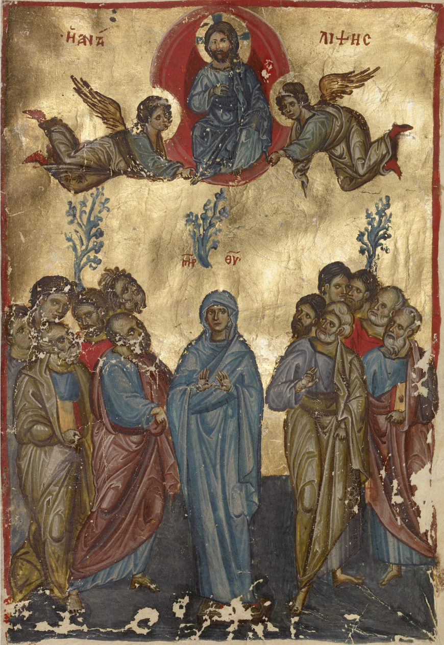 Ascension miniature, late 13th century, Nicaea or Nicomedia (modern Turkey), tempera and gold leaf (The J. Paul Getty Museum)