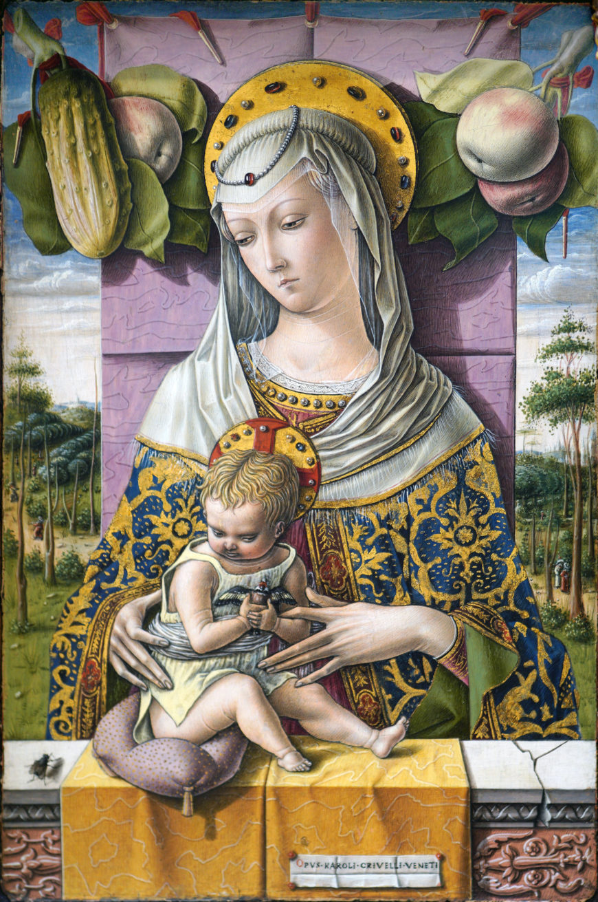 Carlo Crivelli, Madonna and Child, c. 1480, tempera and gold on wood, 37.8 x 25.4 cm (The Metropolitan Museum of Art; photo: Steven Zucker, CC BY SA-NC 2.0)