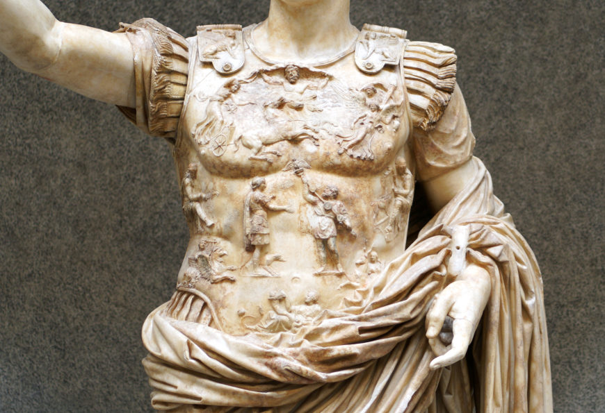 Detail of the breastplate, Augustus of Primaporta, 1st century C.E., marble, 2.03 meters high (Vatican Museums) (photo: Steven Zucker, CC BY-NC-SA 2.0)