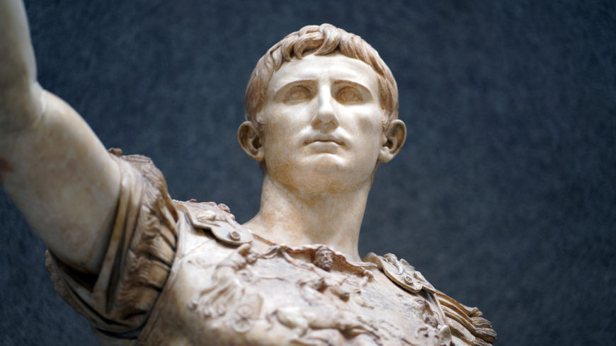 Detail, Augustus of Primaporta, 1st century C.E., marble, 2.03 meters high (Vatican Museums) (photo: Steven Zucker, CC BY-NC-SA 2.0)