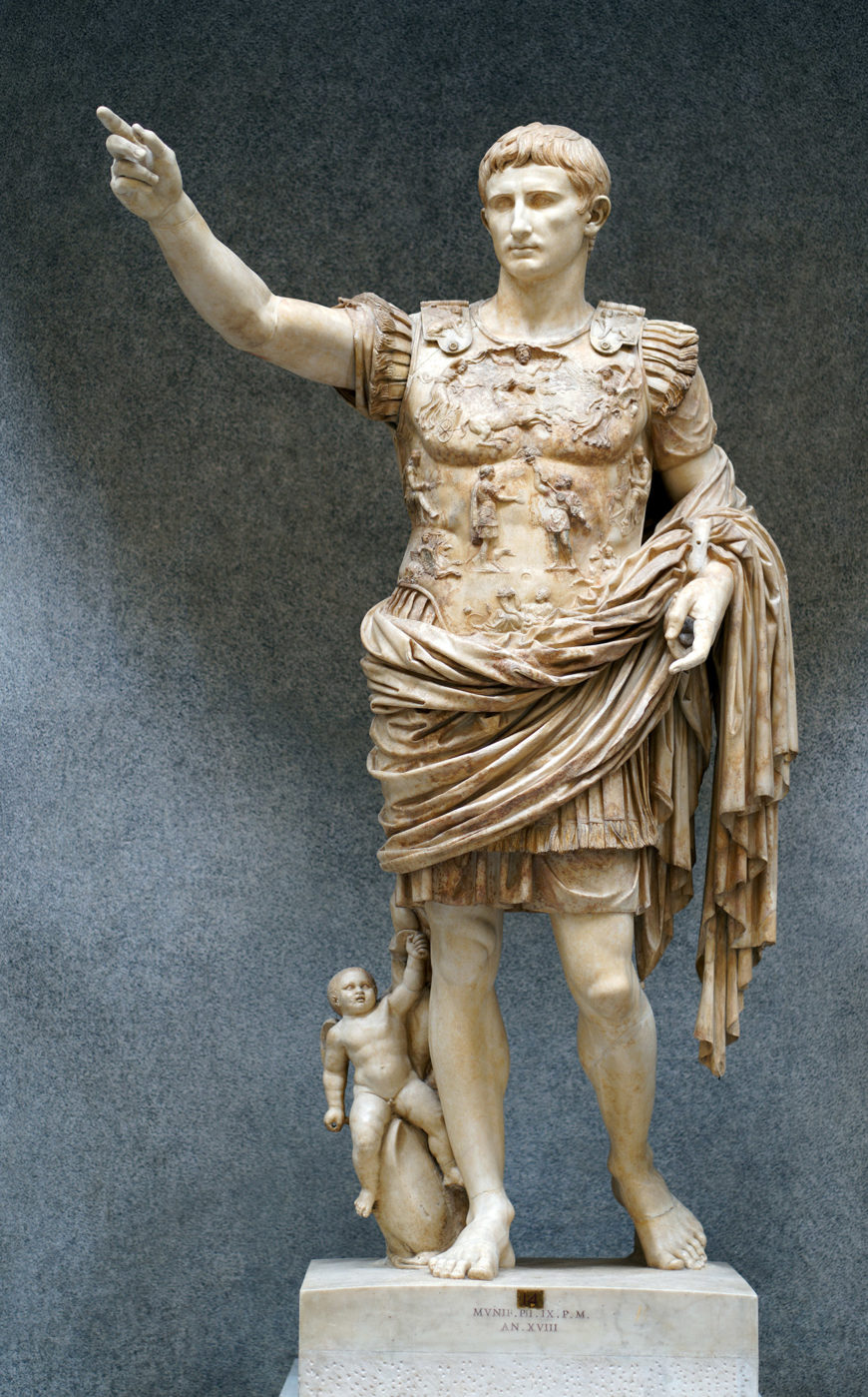 Augustus of Primaporta, 1st century C.E., marble, 2.03 meters high (Vatican Museums) (photo: Steven Zucker, CC BY-NC-SA 2.0)