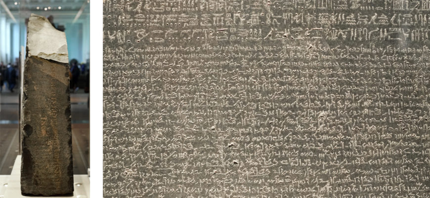 The Rosetta Stone, 196 B.C.E., Ptolemaic Period, 112.3 x 75.7 x 28.4 cm, Egypt (British Museum, London) (photo: Steven Zucker, CC BY-NC-SA 2.0). Left: Detail of the right side; Right: Detail with Demotic script