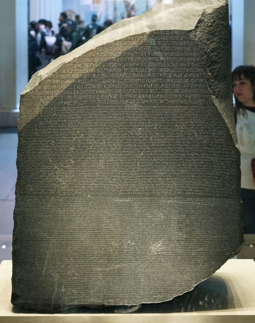 The Rosetta Stone, 196 B.C.E., Ptolemaic Period, 112.3 x 75.7 x 28.4 cm, Egypt (British Museum, London) (photo: Steven Zucker, CC BY-NC-SA 2.0). The Rosetta Stone was discovered in Egypt, at Fort St Julien in el-Rashid, known as Rosetta.