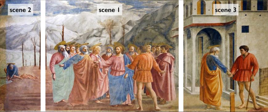 Masaccio, Tribute Money, 1427, fresco (Brancacci Chapel, Santa Maria del Carmine, Florence) (photo: Steven Zucker, CC BY-NC-SA 2.0)