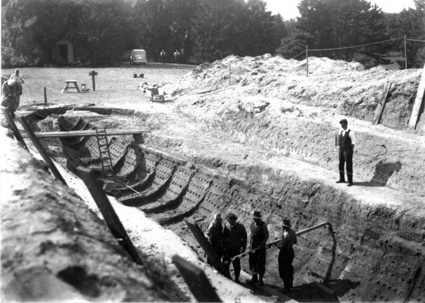 Photo of the excavation of the Sutton Hoo ship burial, by Barbara Wagstaff, 1939. © 2019 The Trustees of the British Museum