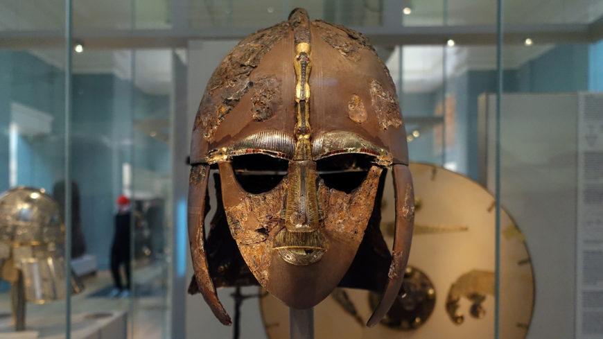 The Sutton Hoo helmet, early 7th century, iron and tinned copper alloy helmet, consisting of many pieces of iron, now built into a reconstruction, 31.8 x 21.5 cm (as restored) (The British Museum) (photo: Steven Zucker, CC BY-NC-SA 2.0)
