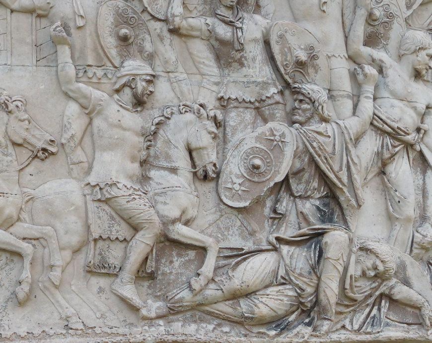 Battle between Romans and Dacians(detail), Column of Trajan, dedicated 113 C.E., (photo: Steven Zucker, CC BY-NC-SA 2.0)