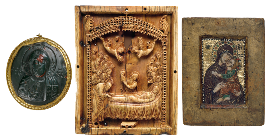 The Byzantines created icons in virtually every available medium. Left to right: heliotrope (bloodstone) cameo icon of Christ, 10th century, Byzantine (The British Museum); ivory icon with the Koimesis (Dormition of the Virgin), late 10th century, Constantinople (The Metropolitan Museum of Art); Miniature mosaic icon of the Virgin and child, early 14th century, Constantinople (The Metropolitan Museum of Art)