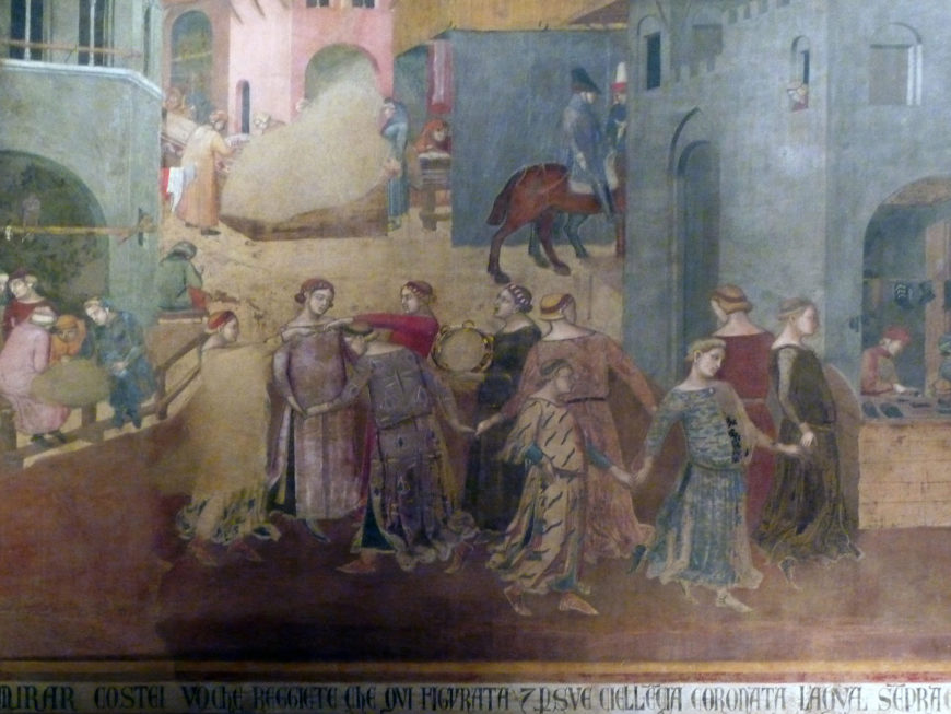 Detail, Ambrogio Lorenzetti, Allegory of Good Government, Effects of Good Government in the City and the Country, c. 1337-40, fresco, Sala della Pace (Hall of Peace) also known as the Sala dei Nove (the Hall of the Nine), 7.7 x 14.4 meters (room), Palazzo Pubblico, Siena (photo: Steven Zucker, CC BY-NC-SA 2.0)
