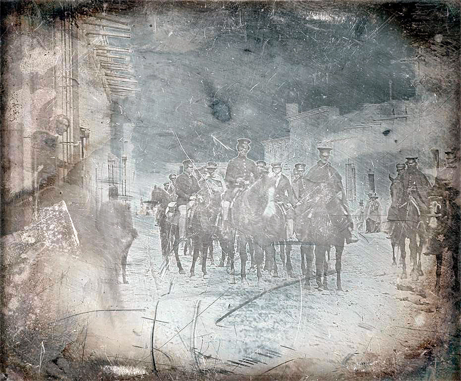 Unknown photographer, General Wool and staff in the Calle Real, Saltillo, Mexico, c. 1847.