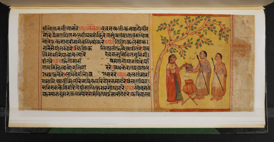 A Jain lay woman offering food to a Jain monk. This is a fundamental act of religiosity in daily life. Manuscript of Matisāra's Śālibhadracaupaī, Or 13524, fol. 33r, dated 1726 CE. (British Library)