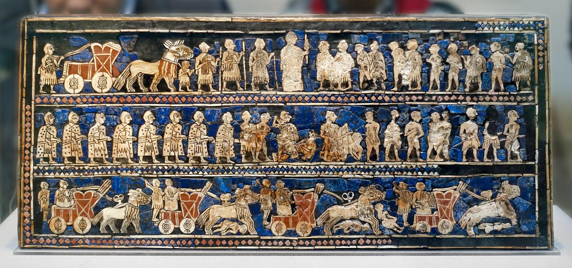 War (detail), The Standard of Ur, 2600-2400 B.C.E., shell, red limestone, lapis lazuli, and bitumen (original wood no longer exists), 21.59 x 49.53 x 12 cm (British Museum; photo: Steven Zucker, CC BY-NC-SA 2.0)