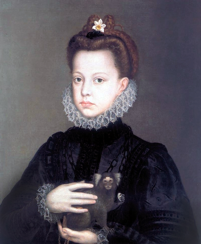 Sofonisba Anguissola, Infanta Catalina Micaela with a Marmoset, c. 1573, oil on canvas, 56.2 x 47 cm (private collection)