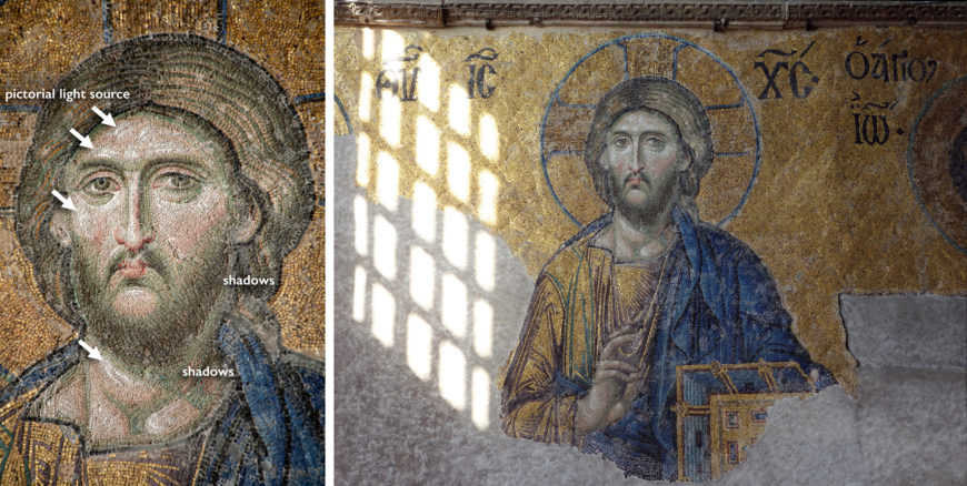 This pictorial light source corresponds with the actual light source of the adjacent window (left photo: byzantologist, CC BY-NC-SA 2.0; right photo: Steven Zucker, CC BY-NC-SA 2.0 )