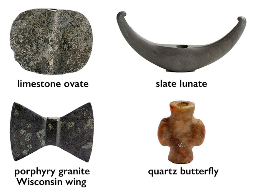 Different types of bannerstones (clockwise from left: American Museum of Natural History d/144 Limestone; American Museum of Natural History 13/105 Slate; NMNH A26077 Porphyry Granite; American Museum of Natural History 1/1821 Quartz)