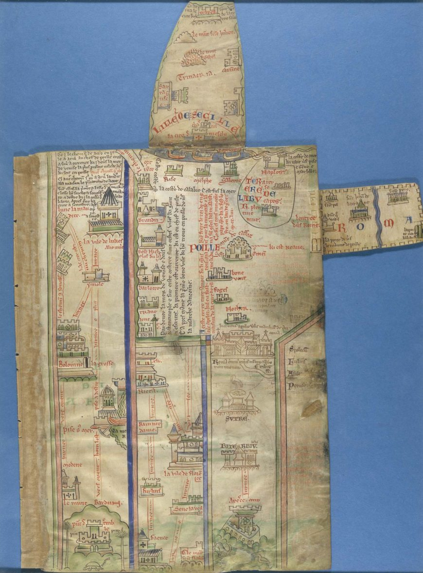 Matthew Paris's itinerary maps from London to Palestine. Despite having never been to Palestine, the monk and historian Matthew Paris (c. 1200–1260), created an itinerary from London to Palestine.