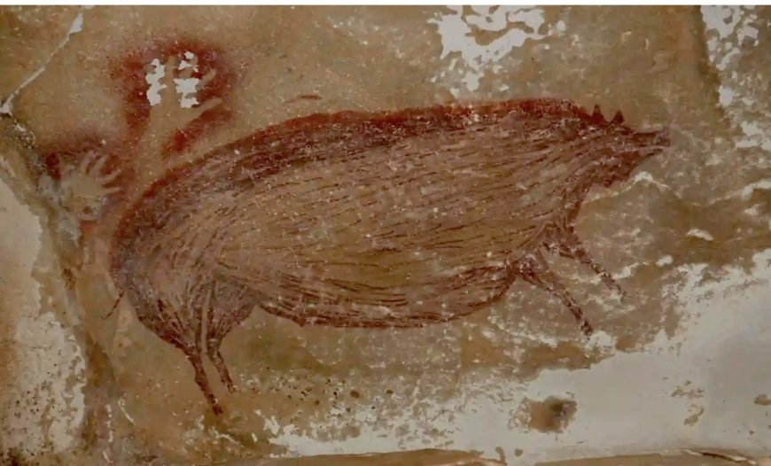Warty pig (Sus celebensis), c. 43,900 B.C.E., painted with ocher (clay pigment), Maros-Pangkep caves, Leang Bulu' Sipong 4, South Sulawesi, Indonesia