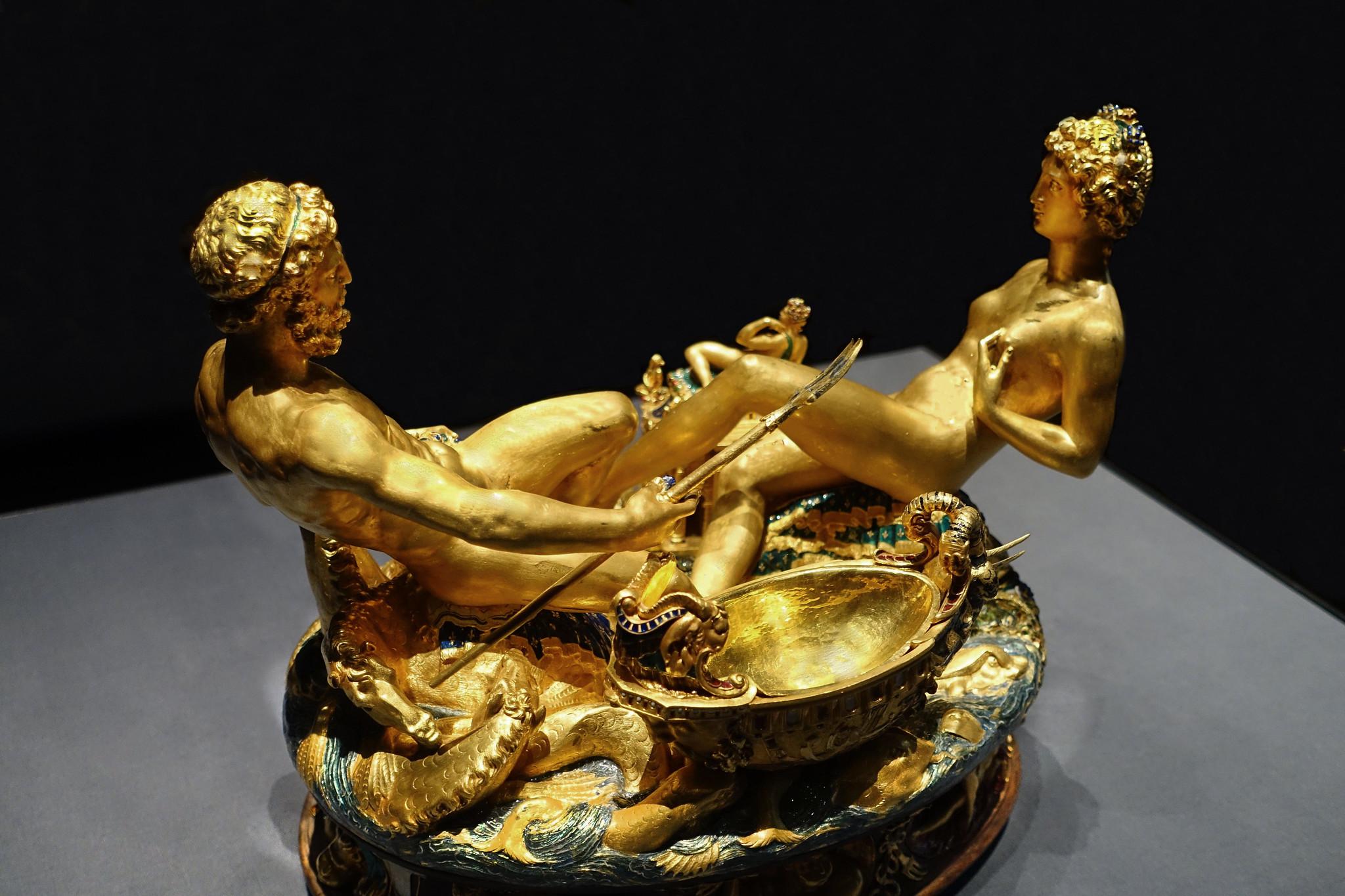 Benvenuto Cellini, Salt cellar, 1540-43, gold, enamel, ebony, and ivory, 28.5 x 21.5 x 26.3 cm (Kunsthistorisches Museum, Vienna)