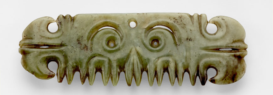 Hongshan culture, pendant in form of a mask, late Neolithic period (c. 3500–3000 B.C.E.), jade (nephrite), 5.7 x 17.2 x .4 cm (Freer Gallery of Art)