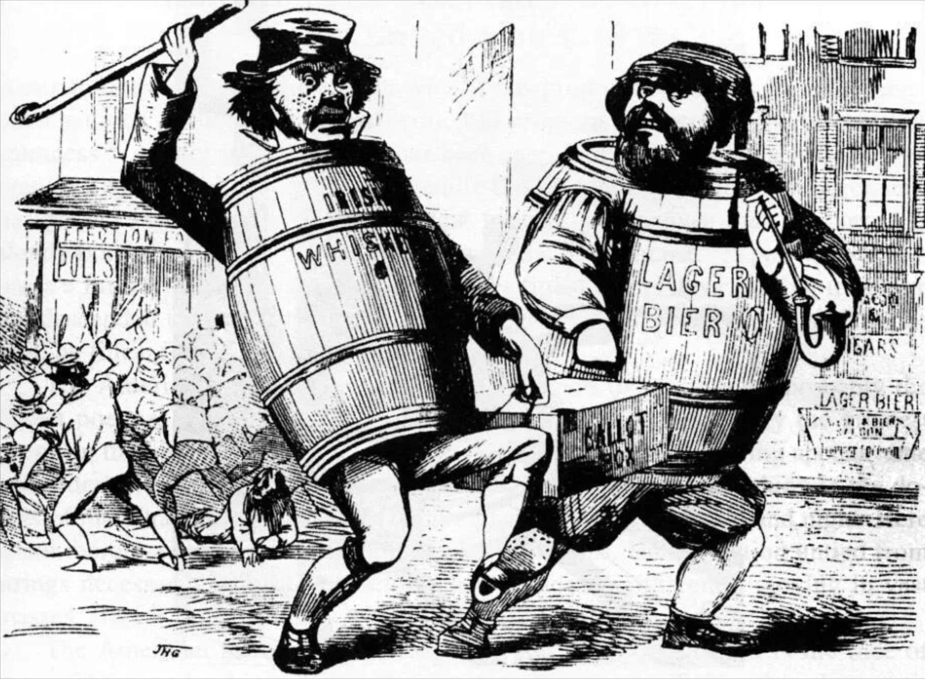 """1850s political cartoon, likely penned by political cartoonist John H. Goater, showing caricatures representing Irish and German voters """"stealing an election."""""""