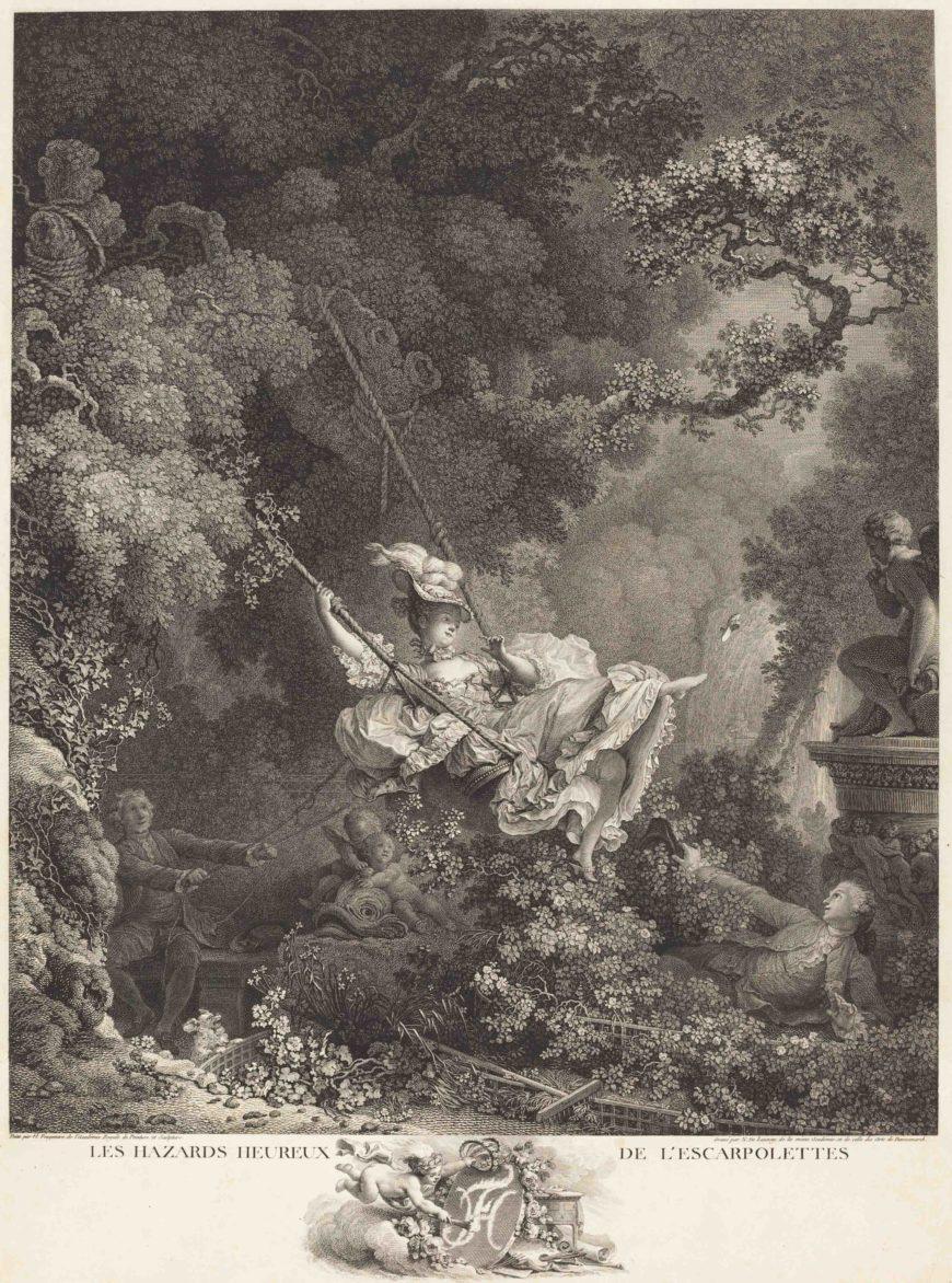 Nicolas Delaunay after Jean-Honoré Fragonard, Les Hazards heureux de l'Escarpolette [Happy Hazards of the Swing], 1782, etching and engraving (National Gallery of Art, Washington, DC)