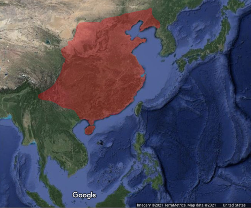 Map of the Qin Empire (underlying map © Google)