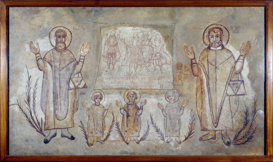 Image caption: Wall painting of the martyrdom of saints From a building at the Coptic town of Wadi Sarga, Egypt. Coptic period, 6th century AD