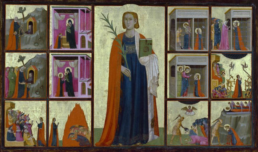 Donato or Gregorio d'Arezzo, Saint Catherine of Alexandria and Twelve Scenes from Her Life, c. 1330, tempera and gold leaf on panel, 107 × 174 cm. (The J. Paul Getty Museum)