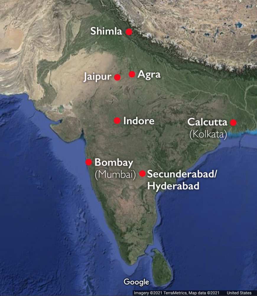 Map of India with cities mentioned in this essay (underlying map © Google)