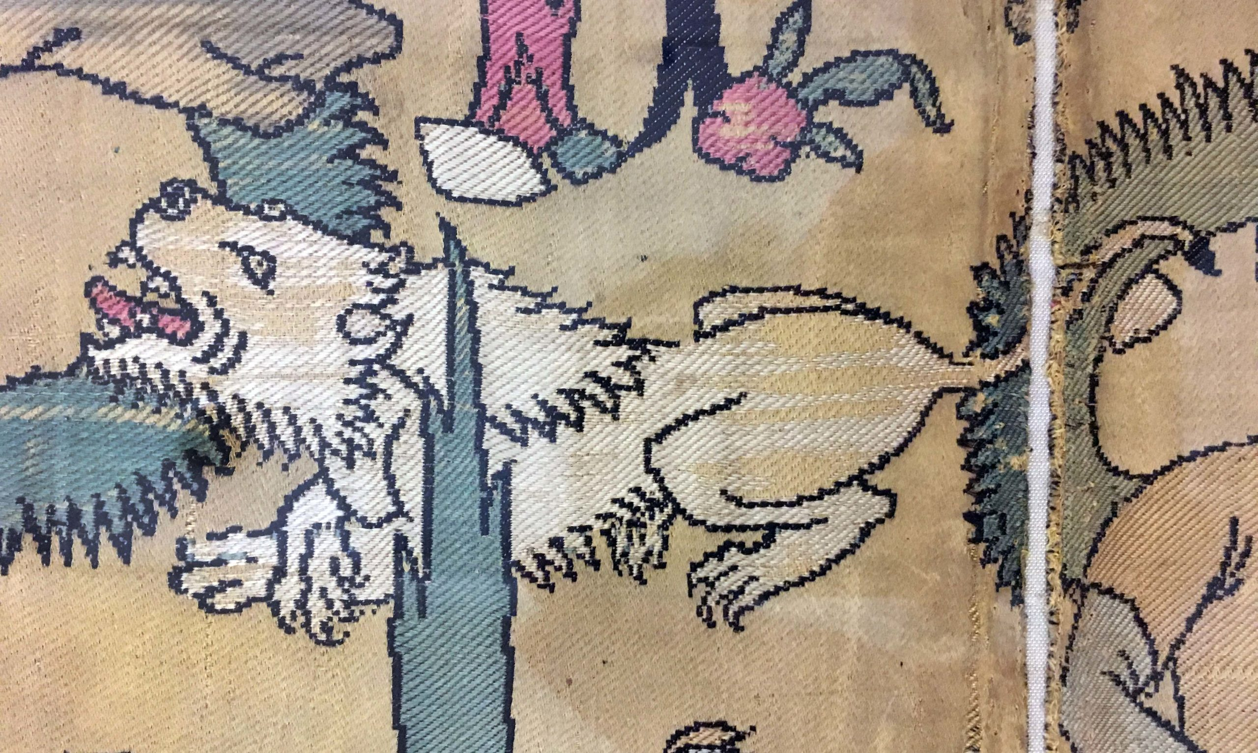Lion (detail), Textile Fragment Depicting a Figure in a Landscape (attributed to Iran), 16th century, silk (lampas), 101.6 x 36.8 cm (The Metropolitan Museum of Art, photo: Nader Sayadi)