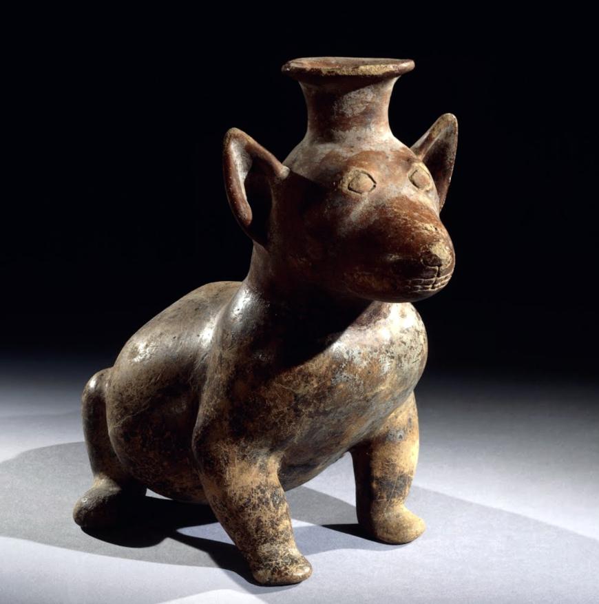 Dog, Colima culture, c. 300 B.C.E.–300 C.E., slipped pottery, Mexico, from Colima, 36 cm in diameter (© Trustees of the British Museum)