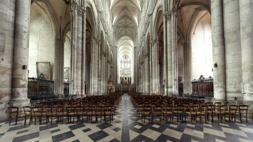 Nave looking east toward the altar, Amiens Cathedral