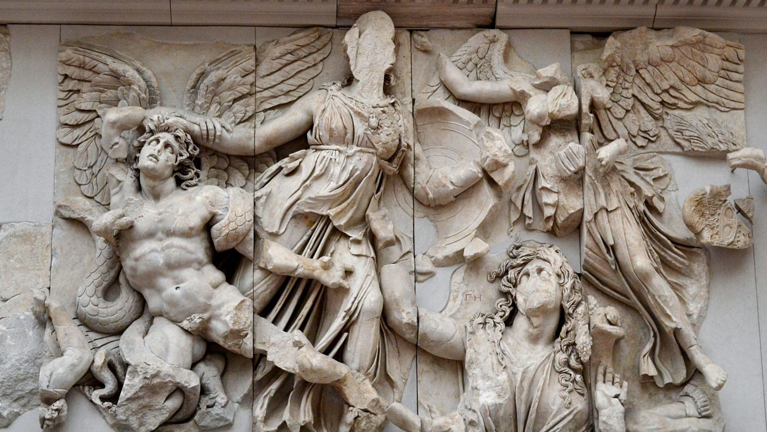 Athena panel, east frieze, Pergamon Altar, (ca. 197-139 BCE), Staatliche Museen, Berlin