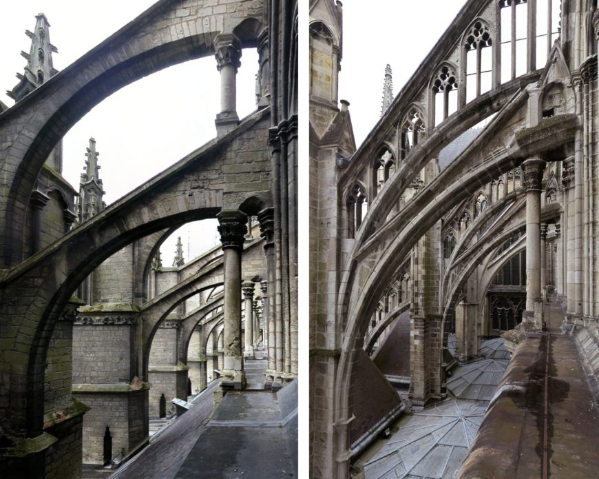 Left: nave flying buttresses; right: choir flying buttresses, Amiens Cathedral