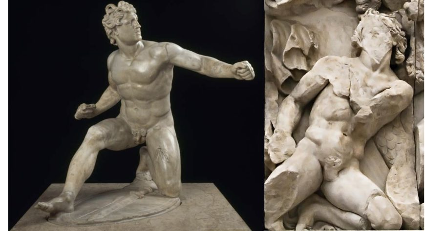 (Left) Wounded Gaul from the Lesser Attalid Dedication (Roman copy, ca. 3rd-2nd century BCE), Musée du Louvre  (Right) Detail of Zeus' opponent, Pergamon Altar (ca. 197-139 BCE), Staatliche Museen, Berlin