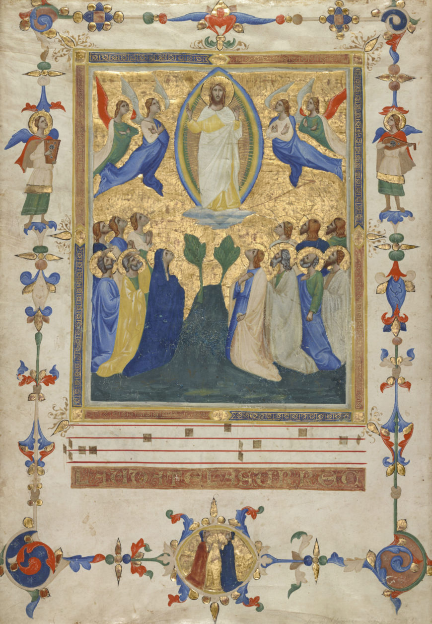 The Ascension of Christ (detail) from the Laudario of Sant'Agnese, attributed to Pacino di Bonaguida, about 1340, tempera colors, gold leaf, and ink on parchment. Los Angeles, Getty Museum, Ms. 80a (2005.26), verso https://www.getty.edu/art/collection/objects/225262/pacino-di-bonaguida-leaf-from-the-laudario-of-sant'agnese-italian-about-1340/