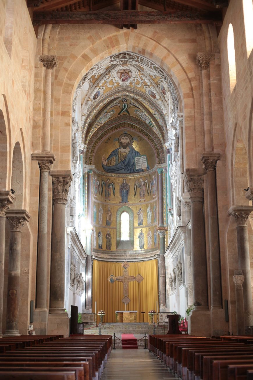 Central apse with Pantokrator, Virgin, apostles, and prophets, Cefalù Cathedral, 1131-1240 (photo: Ariel Fein, CC BY-NC-SA 2.0)