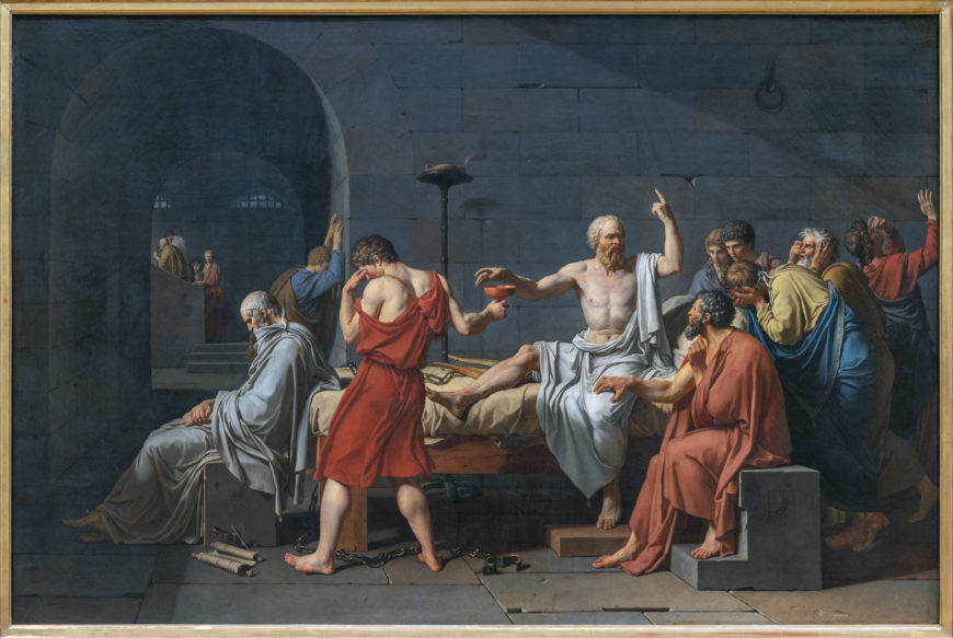 Jacques Louis David, The Death of Socrates, 1787, oil on canvas, 129.5 x 196.2 cm (The Metropolitan Museum of Art)