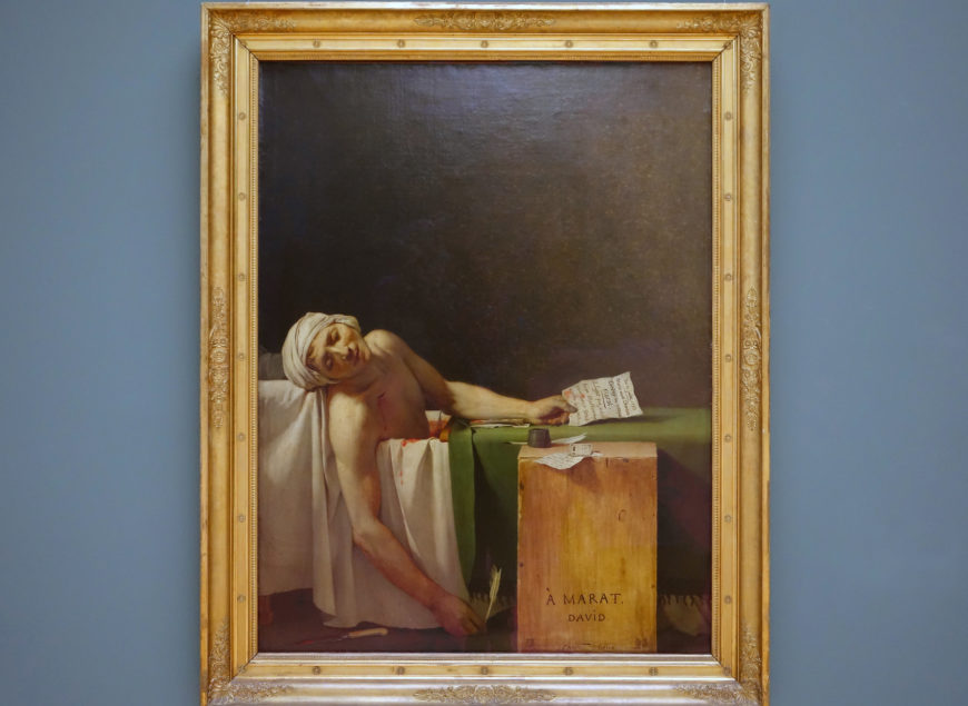 Jacques-Louis David, Death of Marat, 1793, oil on canvas, 165 x 128 cm (Royal Museum of Fine Arts, Brussels)