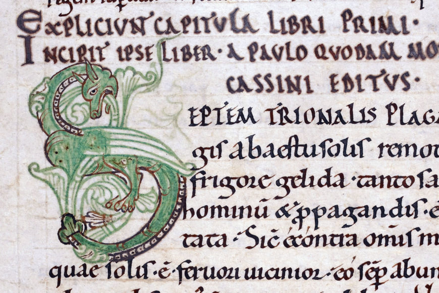 Dragon initial 'S' at the beginning of Paul the Deacon, Historia Langobardorum (History of the Lombards), from Mont Saint-Michel (British Library, Royal MS 13 A xxii, f. 2v, detail)