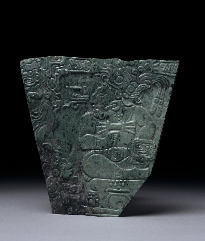 Plaque of a Maya king, c. 400–800 C.E., jadeite, found at Teotihuacan, 14 x 14 cm (© Trustees of the British Museum)