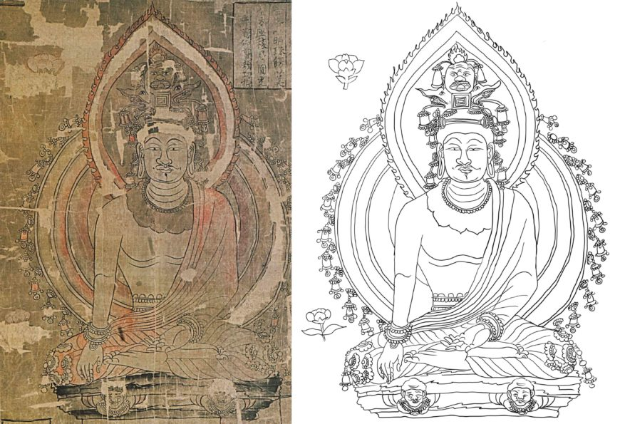 A seated buddha image, second row, first from the left, in the reconstructed composition of the Dunhuang silk painting of auspicious image (Stein no.: Ch.xxii.0023). a) painting (Image source: Lokesh Chandra et al, Buddhist Paintings of Tun-Huang in the National Museum, New Delhi, 2012, p. 65, fig. 11.1); b) line-drawing by author.